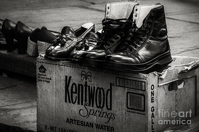 Cardboard Digital Art - The Shoeshine Man's Shoes by Kathleen K Parker