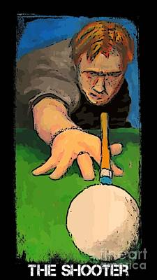 Cue Painting - The Shooter by John Malone Halifax graphic art