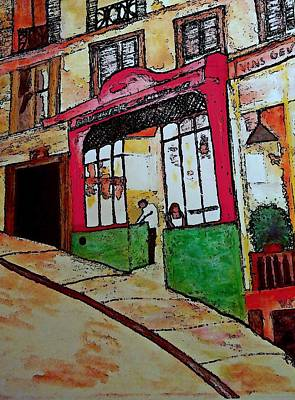 Quebec Streets Painting - The Shop  Boucherie Charcuterie by Rick Todaro