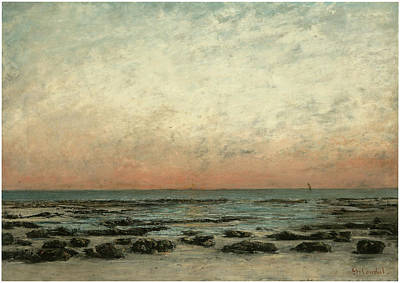 The Shore At Trouville Sunset Effect Art Print by Gustave Courbet