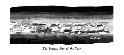 Winter Scene Drawing - The Shortest Day Of The Year by Warren Miller