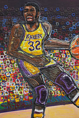 Magic Johnson Painting - The Show by Mike Harder