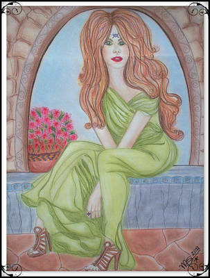 Pastel - The Sibyl - Grecian Goddess by Absinthe Art By Michelle LeAnn Scott