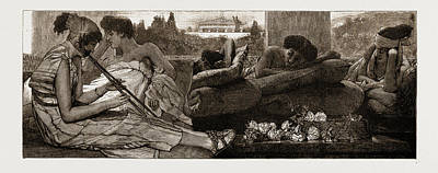 Alma Drawing - The Siesta By L. Alma-tadema by Litz Collection