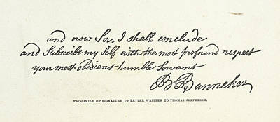 Black History Photograph - The Signature Of Benjamin Banneker by British Library