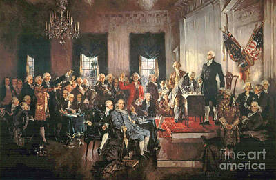 Revolutionary War Painting - The Signing Of The Constitution Of The United States In 1787 by Howard Chandler Christy
