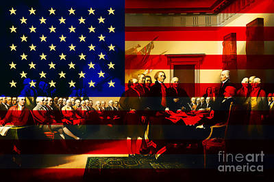 4th July Digital Art - The Signing Of The United States Declaration Of Independence And Old Glory 20131220 by Wingsdomain Art and Photography