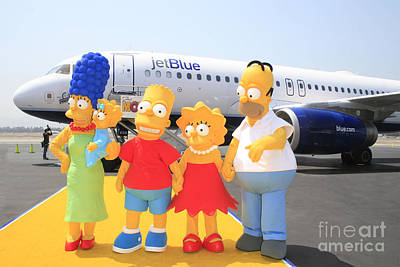 The Simpsons Are Ready To Board Their Plane Art Print by Nina Prommer