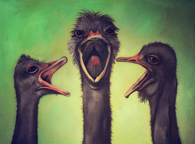 Ostrich Painting - The Singers by Leah Saulnier The Painting Maniac