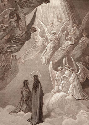 The Singing Of The Blessed In The Sixth Heaven Art Print by Gustave Dore