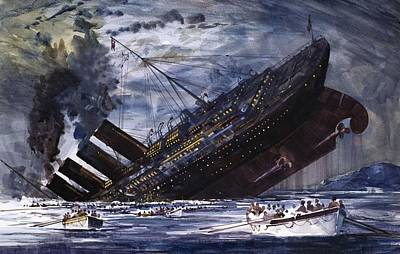 The Sinking Of The Titanic Art Print by Graham Coton