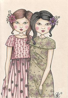 Sisters Drawing - The Sisters by Snezana Kragulj