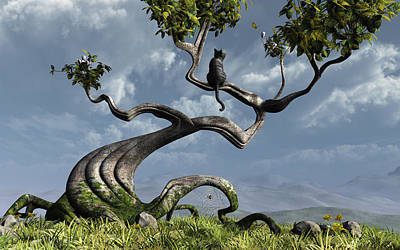 Horizontals Digital Art - The Sitting Tree by Cynthia Decker