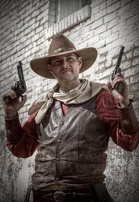 Portaits Digital Art - The Six Shooter by Linda Unger