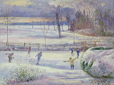 Winter Sports Painting - The Skating Day by Timothy Easton