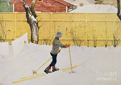 Laundry Painting - The Skier by Carl Larsson