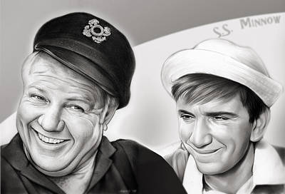 Transportation Mixed Media - The Skipper And Gilligan by Greg Joens