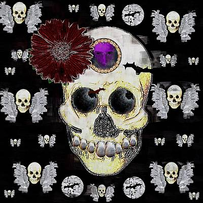 Bat Cave Mixed Media - The Skull Is In Love With Cupidos by Pepita Selles