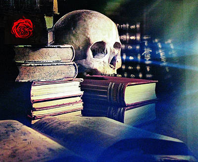 Photograph - The Skull The Spell Book And The Rose by Tom Conway