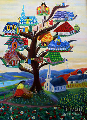 Fruit Tree Art Painting - The Sky Is The Limit  by Barbara Sala