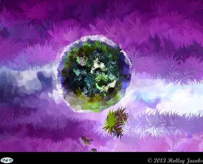 Digital Art - The Sky Is The Limit Purple by Holley Jacobs