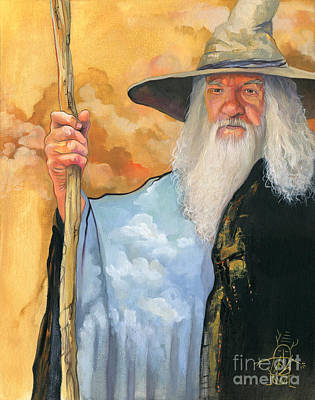 Sorcerer Painting - The Sky Wizard by J W Baker