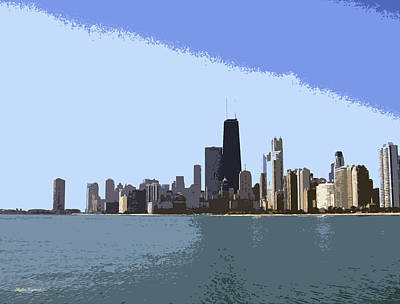 Hancock Building Mixed Media - The Skyline Of Chicago by Skyler Tipton