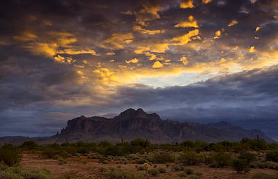 The Superstitions Photograph - The Sky's Aglow  by Saija  Lehtonen