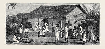 Slaves Drawing - The Slave Trade On The East Coast Of Africa Released Slaves by English School