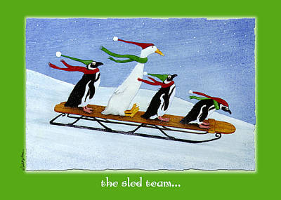 Painting - The Sled Team... by Will Bullas