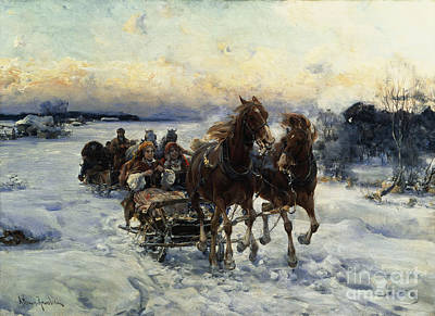 Horse-drawn Painting - The Sleigh Ride by Alfred von Wierusz Kowalski