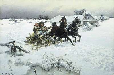 Horse-drawn Painting - The Sleigh Ride by Jaroslav Friedrich Julius Vesin