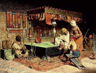 Persian Carpet Painting - The Slipper Merchant by Jose Villegas Cordero