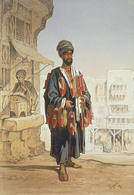 Trade Drawing - The Slipper Seller, From Souvenir by Amadeo Preziosi