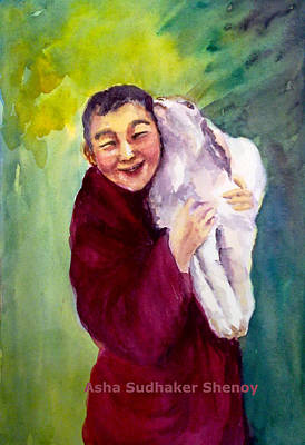 Painting - The Smiling Monk by Asha Sudhaker Shenoy