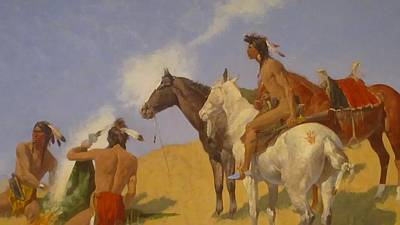 Digital Art - The Smoke Signal by Frederic Remington