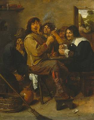 1636 Painting - The Smokers by Adriaen Brouwer