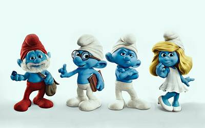 Cabin Wall Digital Art - The Smurfs Movie by Movie Poster Prints