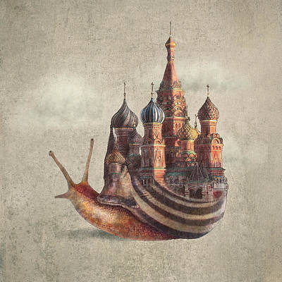 Russia Drawing - The Snail's Daydream by Eric Fan