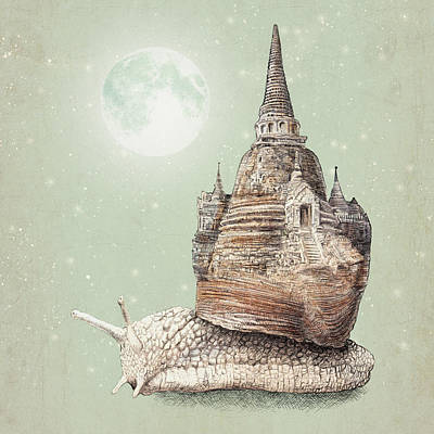 Moon Drawing Drawing - The Snail's Dream by Eric Fan