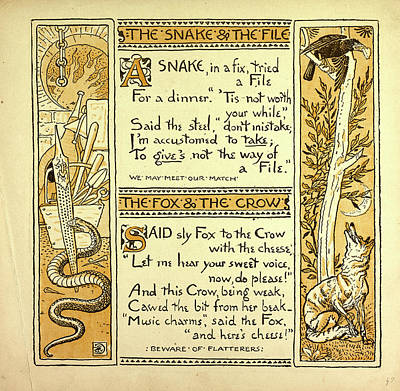 The Snake And The File The Fox And The Crow Art Print