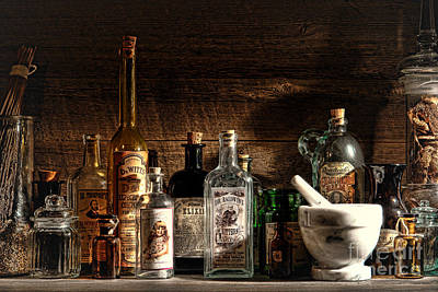 Medicine Bottles Photograph - The Snake Oil Shop by Olivier Le Queinec