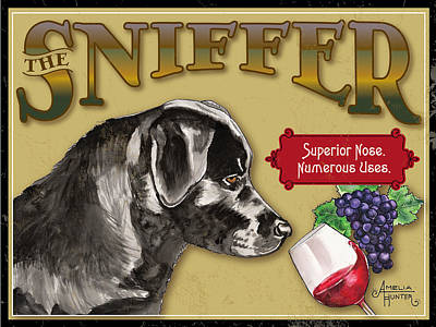 The Wine Sniffer Black Lab Art Print by Amelia Hunter