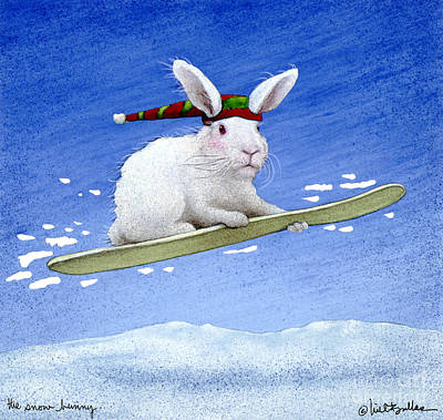 Snowboarding Painting - The Snow Bunny... by Will Bullas