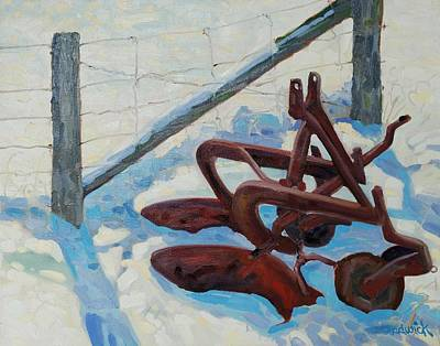 The Snow Plow Art Print by Phil Chadwick