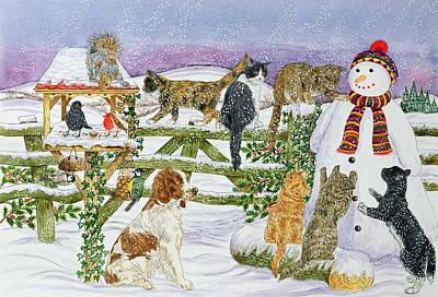 The Snowman And His Friends  Art Print