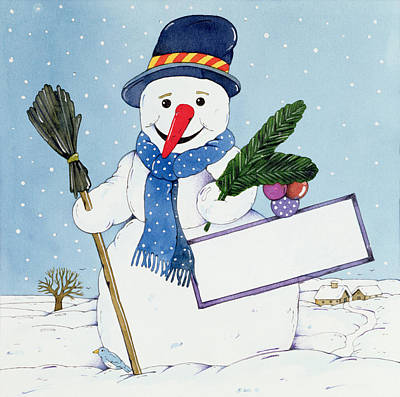 Scarf Drawing - The Snowman by Christian Kaempf