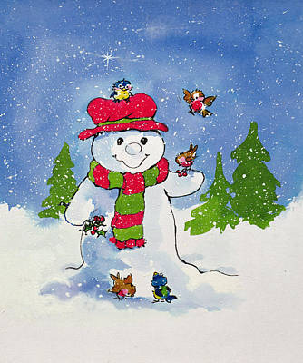 Painting - The Snowman by Diane Matthes