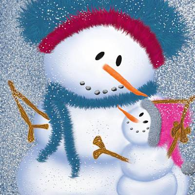 Painting - The Snowmomma And Snowgirl by Michelle Brenmark