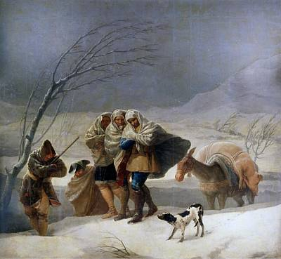 Snowstorm Painting - The Snowstorm - Winter by Francisco Goya